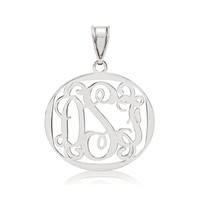 Monogram pendant.  Available in Sterling Silver, 14k white, yellow or pink Gold